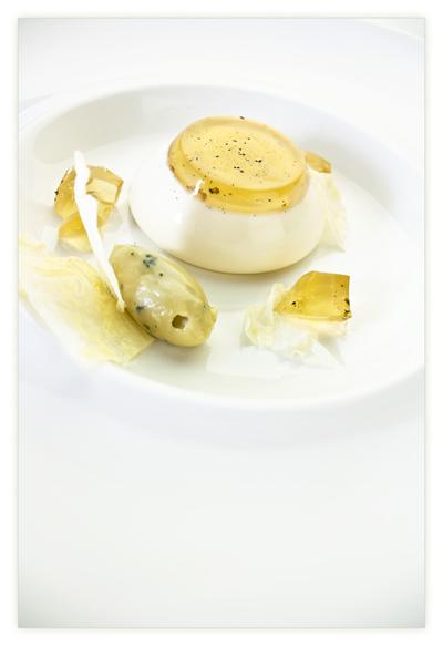 Tokaji Aszu Panna Cotta w/ Blue Cheese and White Chocolate Ganache